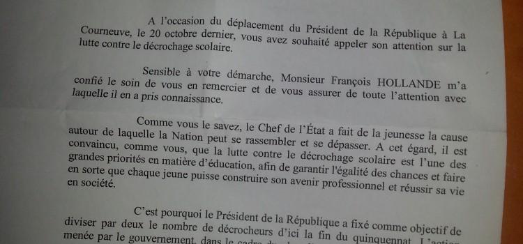 Courrier de la Présidence de la République